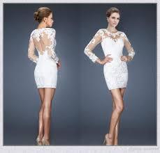white long sleeves homecoming dresses 2015 sheath scoop see