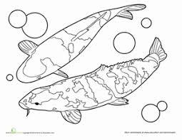 Kindergarten Coloring Worksheets Koi Fish Page