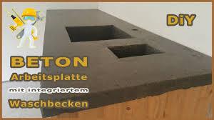 betonplatte mit integriertem waschbecken arbeitsplatte aus beton epoxidharz betontisch neu