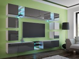 wohnwand edge grau hochglanz weiß mediawand medienwand design modern led beleuchtung mdf hochglanz hängewand hängeschrank tv wand