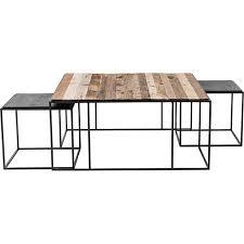 rustika 3 stk couchtisch set rustikal bootsholz schwarz holz wohnzimmer tisch