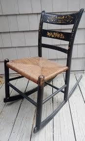 Vintage New England Hitchcock Black Child Rocking Chair ...