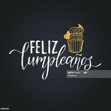 vektorfeliz cumpleanos übersetzte happy birthday schriftzug