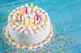 Colorful Birthday Cake with Candles — Stock