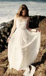 Beach Wedding Dress With Sheer Beaded Sleeves Vintage Lace Strapless Rustic