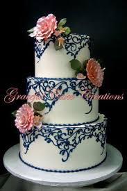 Blush Pink And Navy Blue Wedding Cake By CuriAUSSIEty Custom Cakes