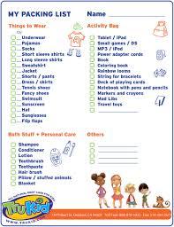 Travel Packing List For Kids