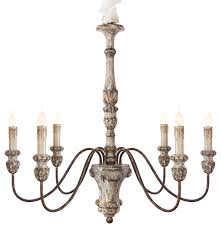 Catania Vintage French Country Wood 6 Light Chandelier Farmhouse Wooden Home Dining Room