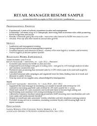 Sample Of Retail Resume Resumes Samples Manager Download Examples Free
