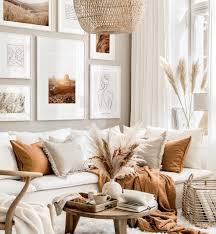 moderne boho stil bilderwand line poster wohnzimmer beige