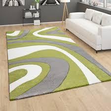 teppich wohnzimmer kurzflor modernes abstraktes wellenmuster 3d optik grün grau