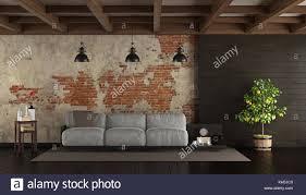 dunkle wohnzimmer im landhausstil mit palette brick wall
