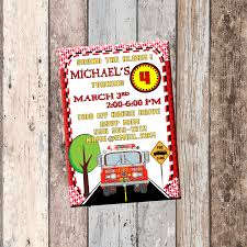 Fire Truck Birthday Party Invitations Envelopes Vintage Engine ...