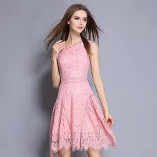 Summer Dresses For Women 2017 Trendy Mini Party Pink Sleeveless Ladies Lace Dress Casual Womens