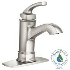 moen hensley single hole 1 handle bathroom faucet featuring