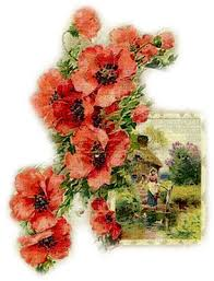 Soave Background Transparent Vintage Flowers House Poppy Red Green