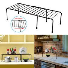 details zu expandable kitchen counter cabinet shelf organizer rack storage countertop bowls
