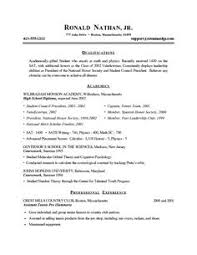 Resume Examples For A Highschool Student 8 Recent College Graduate Sample