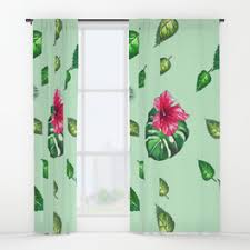 Tropical Window Art Curtains by Pineapples Window Curtains Society6