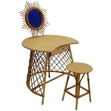 Heywood Wakefield Dressing Table by Rattan Vanity In The Style Of Jean Royere 1950s For Sale At 1stdibs