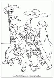 Going Trick Or Treating Colouring Page