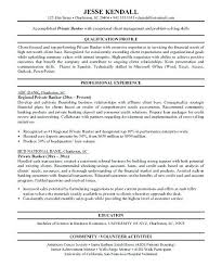 Banker Resume Objective Personal Investment Sample