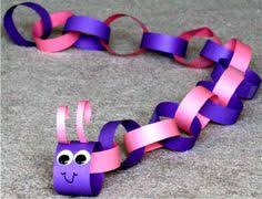 Paper Chain Caterpillar Made With Strips Of Construction 1 Inch By 10 Inches Long