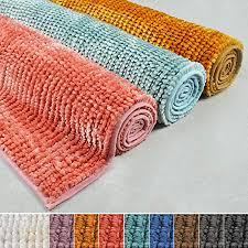 chenille badematte coral zarte schimmernde farben schadstoffgeprüft badezimmer teppich mit effekt waschbarer badvorleger 50x80 cm