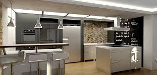 3d ansicht loft küche küche steinwand beleuchtung