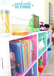 Play Room Decorating Ideas Wood Crate Toy Storage