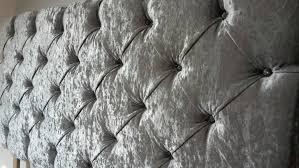 Gray Velvet King Headboard by Downham Crushed Velvet Silver Grey Deep Crystal Buttoned 6ft
