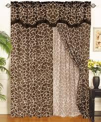 Giraffe Animal Kingdom Curtain Set w Valance Sheer Tassels