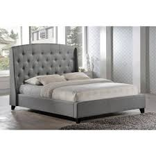 King Platform Bed With Tufted Headboard by Luxeo Laguna Gray King Upholstered Bed Lux K6327 Gry The Home Depot