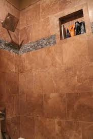 contemporary shower design mosaic border travertine tile and