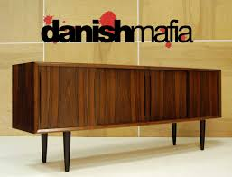 MID CENTURY DANISH MODERN BOW FRONT ROSEWOOD CREDENZA SIDEBOARD