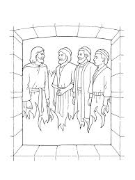 Shadrach Meshach And Abednego Coloring Page Bible Pages Projects To Line Drawings