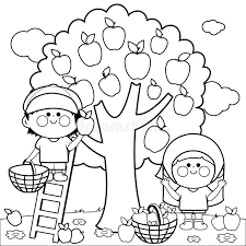 Download Children Harvesting Apples Coloring Book Page Stock Vector