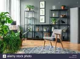sessel auf grau gemustertem teppich in dunklen und eleganten