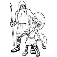 David And Goliath B W Fighting Story Coloring Page