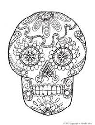Day Of The Dead Life Sized Skeleton And Sugar Skull Coloring Sheets