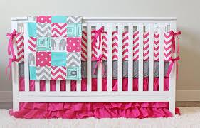 Pink Crib Bedding by Bright Pink Baby Bedding Teal Pink Gray Crib