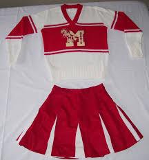 vintage cheerleader uniform red white horse mustangs