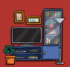 Vector Hand Drawn Cartoon Style Living Room Design
