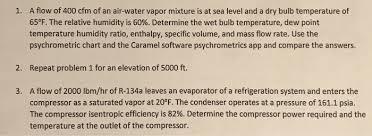 a flow of 400 cfm of an air water vapor mixture is chegg