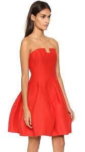 halston strapless structured dress in red lyst