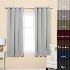 White And Gray Blackout Curtains by Tall White Curtains With Black Metal Rod On White Wall Plus Glass