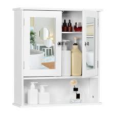yaheetech spiegelschrank badschrank hängeschrank mit spiegeltür badezimmerspiegel mit ablagen 56cmx13cmx58cm weiß