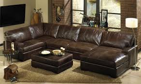 Furniture Rustic Brown Leather Sectional Sofa With Chaise Loube Also Ottoman Coffee Table