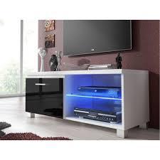 möbel tv schrank fernsehtisch led wohnzimmer in den farben weiß und schwarz glänzend lackiert maßnahmen 100x40x42 cm