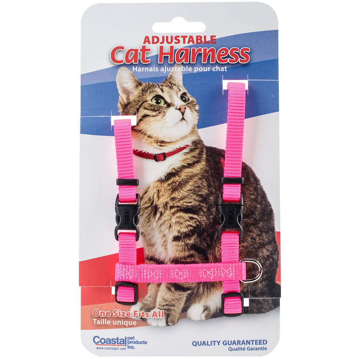 "Figure H 3/8"" Adjustable Nylon Cat Harness Neon Pink"